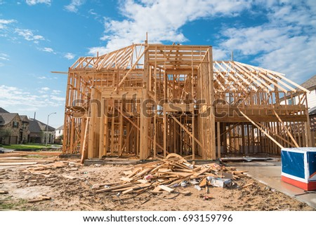 New Stick Built Home Under Construction Stock Photo (Safe to Use ...
