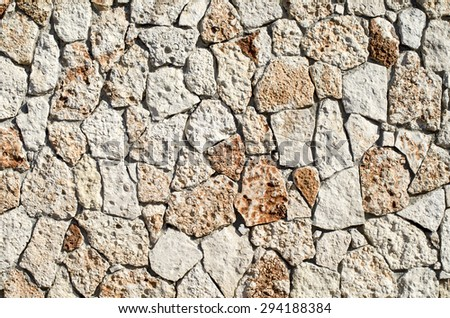 New stone cladding plates on wall closeup