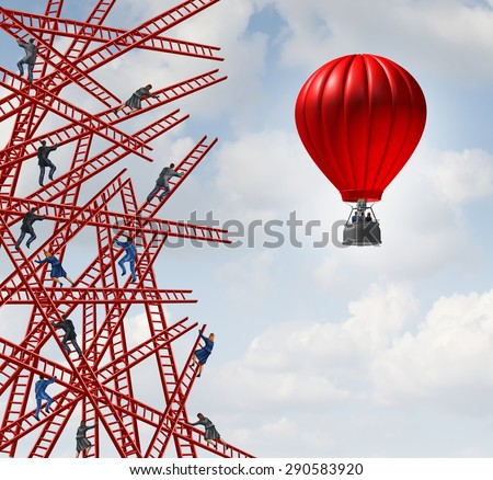 New strategy and independent thinker symbol and new innovative thinking leadership concept as a group of people climbing ladders in confusing directions with one team of employees in a red balloon. - stock photo