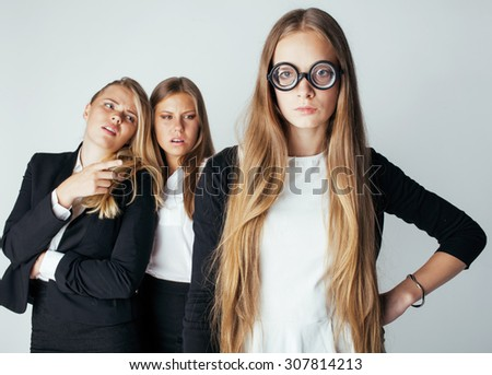 new student bookwarm in glasses against casual group on white, teen drama