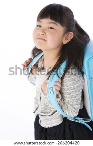 new student carried a schoolchild - stock photo