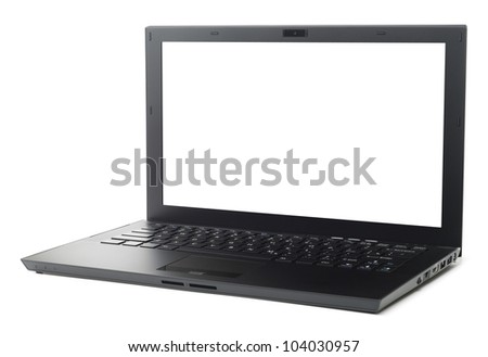 New style black business laptop isolated with clipping path on white background