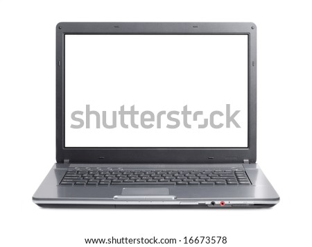 New style laptop in front isolated with clipping path over white background - stock photo
