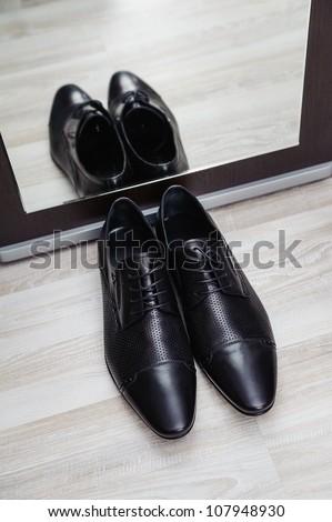 new stylish man shoe with mirror reflection - stock photo