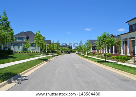 New Suburban American Neighborhood - stock photo