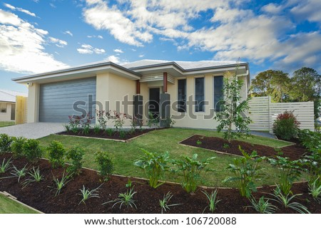 New suburban Australian townhouse - stock photo