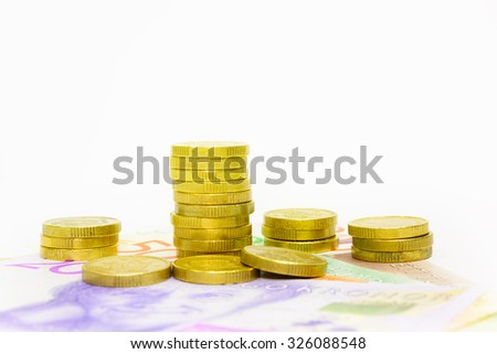 New swedish bank notes and coins. NOTE: the new 2015 model. - stock photo