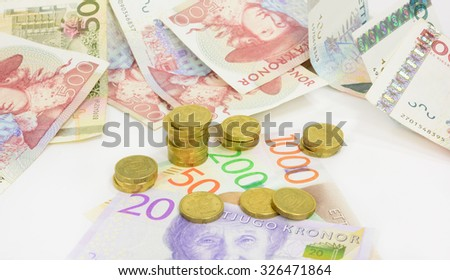 New swedish bank notes and coins. NOTE: the new 2015 model up front - stock photo
