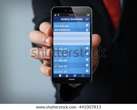 new technologies business concept: businessman hand holding a 3d generated touch phone with mobile banking on the screen. Screen graphics are made up.