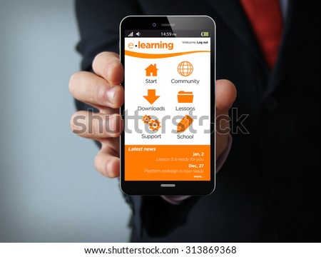 new technologies education concept: businessman hand holding a 3d generated touch phone with e-learning platform on the screen. Screen graphics are made up. - stock photo