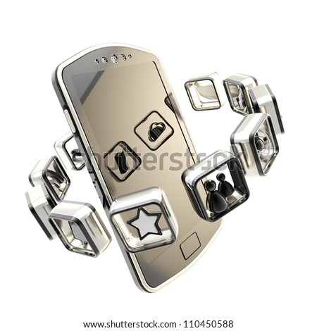 New technology and application market illustration as smart phone surrounded with black and chrome metal symbolic app icon emblems isolated on white - stock photo