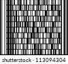 """New technology barcode called Codablock F. This example of code literally translates as the following text: """"This is a Codablock F code, a modern two-dimensional bar code."""" - stock photo"""