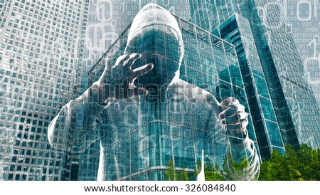 New technology hacker cyber crime in cyberspace - stock photo