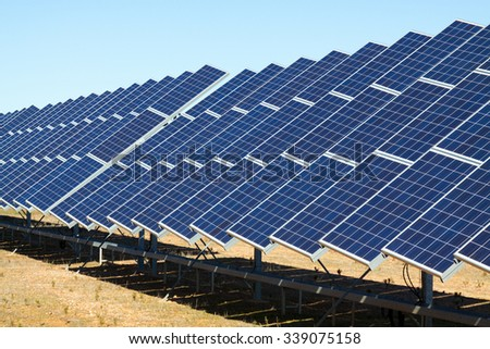 New technology of energy production: electric solar panel system - stock photo