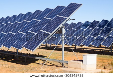 New technology of energy production: electric solar panels - stock photo