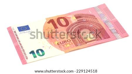 New ten euro banknote, isolated on white - stock photo