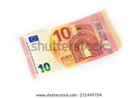 New ten euro banknote, isolated on white  - stock photo