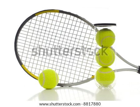 New tennis ball and a tennis racket on white background with copy space