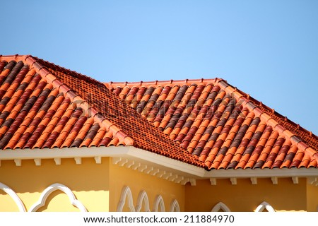 New tile of the roof - stock photo
