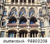 New Town Hall architecture detail in Marienplatz, Munich, Germany. - stock photo
