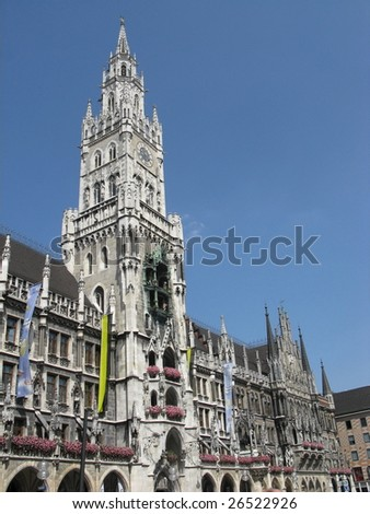 New Town Hall with the famous clock. Munich. Marienplatz