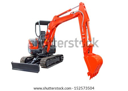New tracked excavator, trackhoe isolated on white background  - stock photo