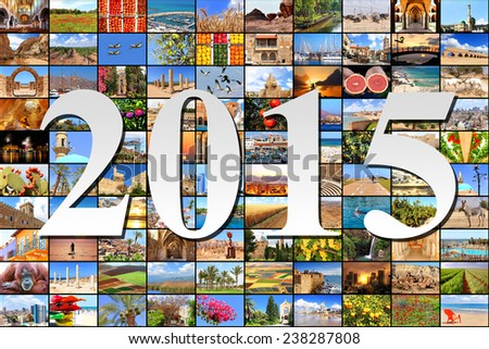 New two thousand fifteen on the Mediterranean vacation collage photos background  - stock photo