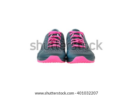 New unbranded running shoes, sneaker or trainer isolated on white background