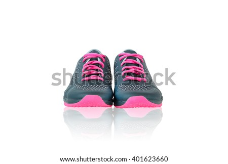 New unbranded running shoes, sneaker or trainer isolated on white background with reflection