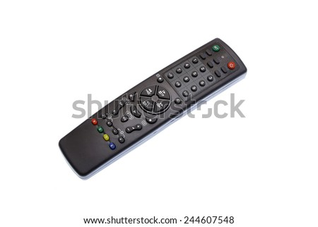 new universal remote control on white background - stock photo