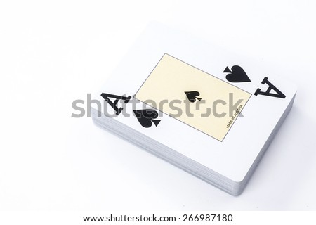 New unpacked playing cards. Isolated on a white background. - stock photo
