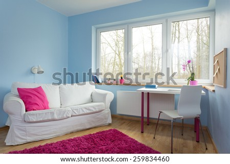 New up-to-date design of teenage girl room - stock photo