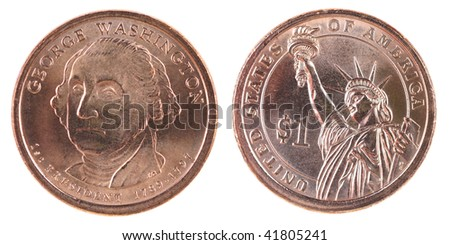 new us 1 dollar coin - stock photo