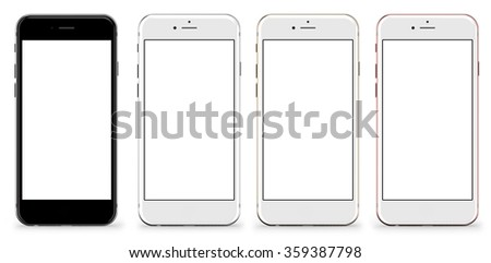 New version. Set of four smartphones gold, rose, silver and black with blank screen, isolated on white background. Real camera, high resolution, detailed illustration. - stock photo