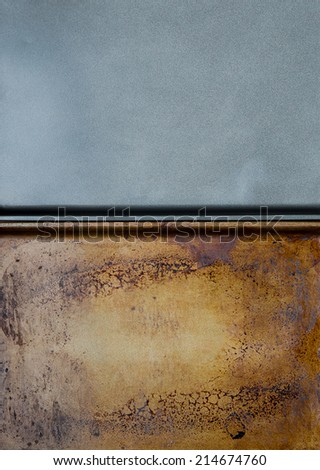 New versus old oven baking sheets, kitchen background - stock photo