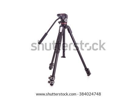New video or camera tripod isolated on white background - stock photo