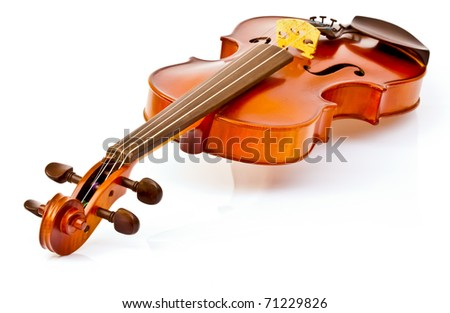 New violin from the factory isolated on white with soft shadow. - stock photo
