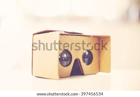 New virtual reality cardboard headset device for smartphones - stock photo