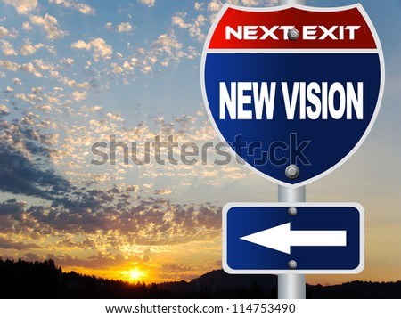 New vision road sign - stock photo