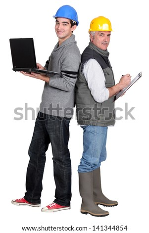 New vs. old ways of working - stock photo