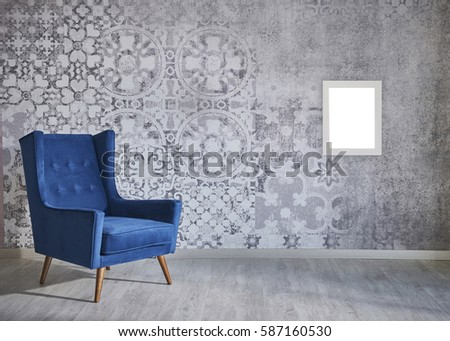 New Wall With Different Household Items, Modern Lamp, Frame And Interior  Design