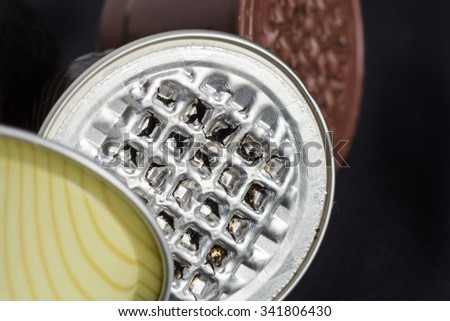 New waste disposal difficult: the used pods of coffee - stock photo