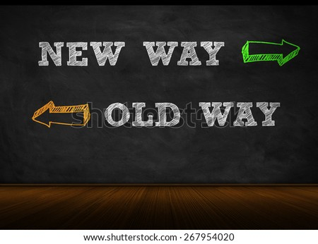 new way - old way - stock photo