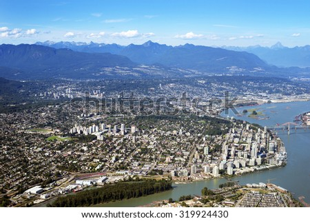 New Westminster, Burnaby, Coquitlam and Fraser River, British Columbia, Canada - stock photo