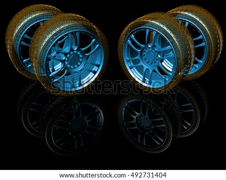 New wheels isolated on black. 3d illustration.
