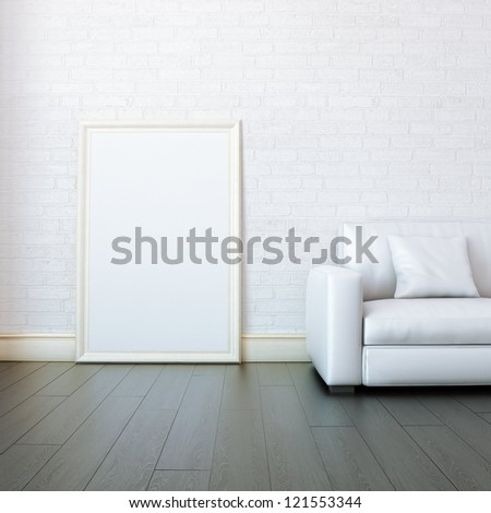 New White Room With Blank Frame For Painting - stock photo