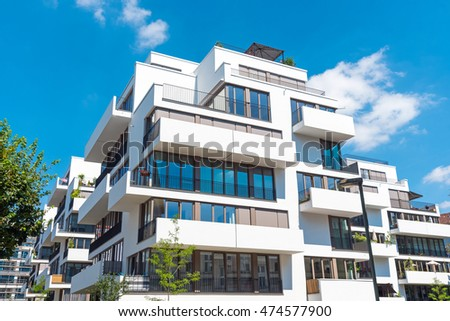 New white townhouses seen in Berlin, Germany