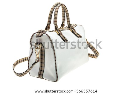 New white womens bag with black strip, isolated on white background. - stock photo