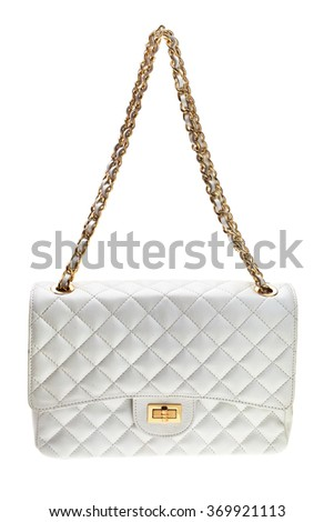 New white womens bag with black strip, isolated on white background.