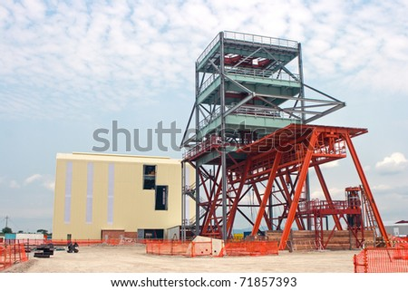 New winder headgear being erected on site - stock photo